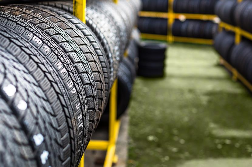 tires on racks in warehouse or store
