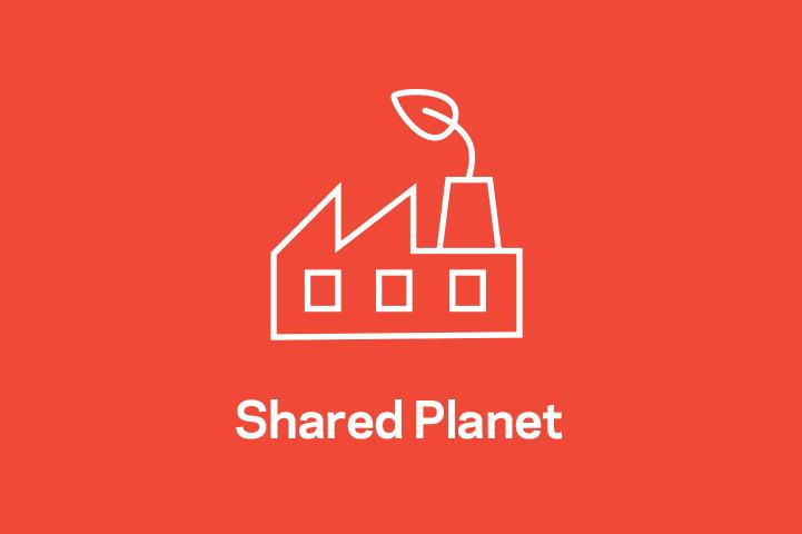 A color-blocked, red image of the Chemours Shared Planet icon.