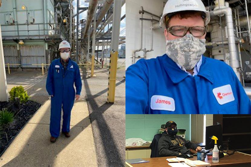 A collage of man in personal protective equipment.