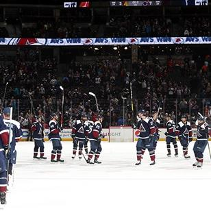 An image of a hockey team on ice raising there sticks celebrating.