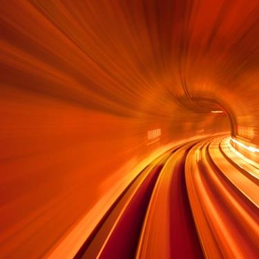 red subway tunnel with speed motion blur
