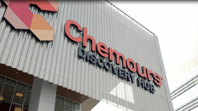 The front of the Chemours Discovery Hub building.