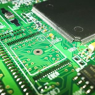 closeup of a greencomputer mother board